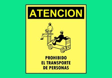 Atención 0306 PROHIBIDO EL TRANSPORTE DE PERSONAS