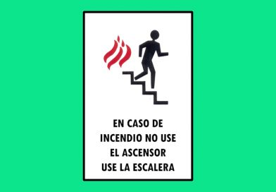 Autoadhesivo 020 161C EN CASO DE INCENDIO NO USE EL ASCENSOR USE LA ESCALERA
