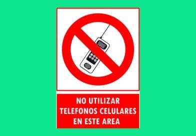 Prohibido 169 NO UTILIZAR TELEFONOS CELULARES EN ESTE AREA
